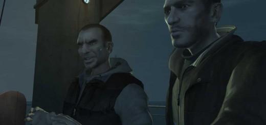 商船の甲板にいるニコとホッサン