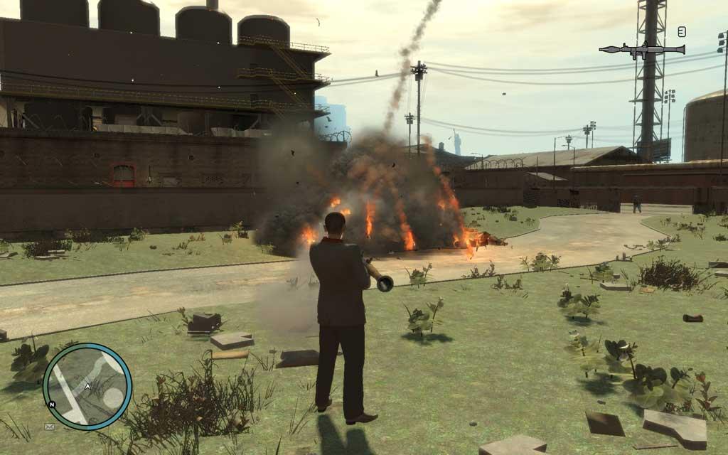 爆発寸前までホールドしたグレネードを投げるのもありだが、最も簡単なのはRPG。中央にいるバイクを狙えば、一撃で全滅させられる。