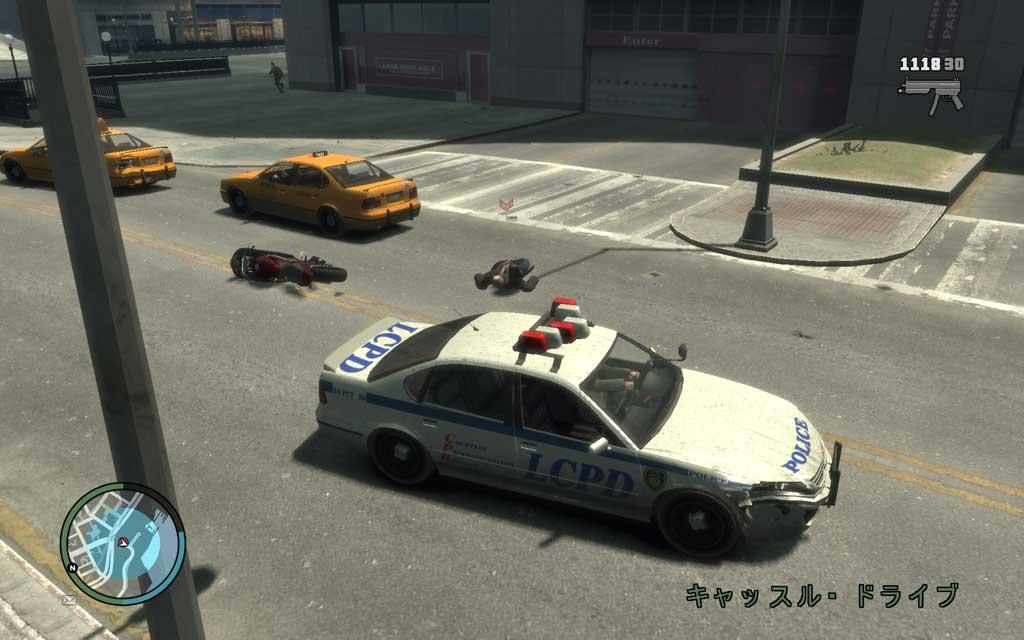 NRG-900に、対向車線上で振り切られると追跡が困難になる。なんとしても初動でバイクから落としてやろう。