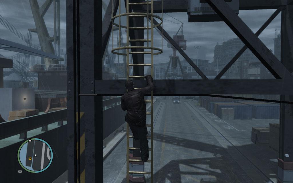 クレーンの足場は甲板部分よりもかなり高い場所に位置しているため、船上の敵を一望することができる。