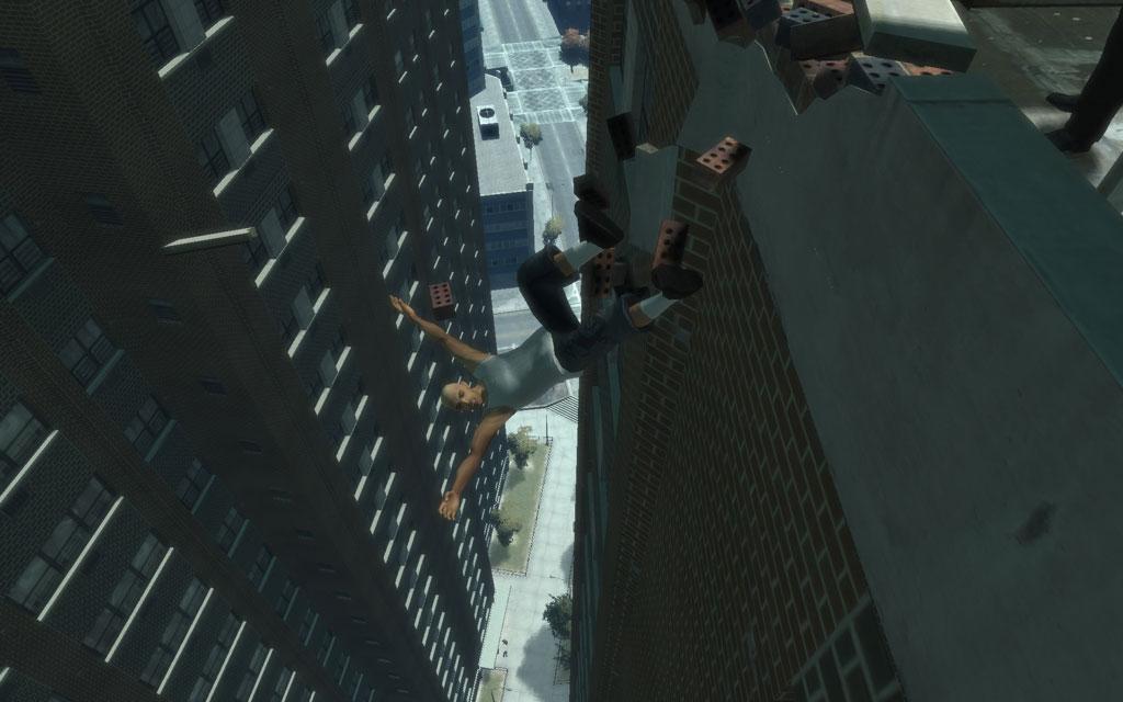 ターゲットを突き落とす際は、自分も一緒に落ちないように注意しよう。地上へトゥゲザーだけは勘弁。