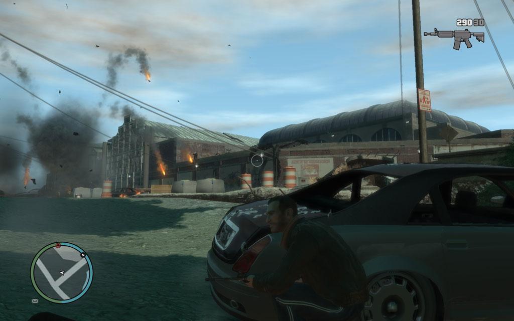 バリケードとなっている敵の車にRPGを撃ちこんだら、一気に突撃をかけよう。爆風に怯んでいるスキがチャンスだ。