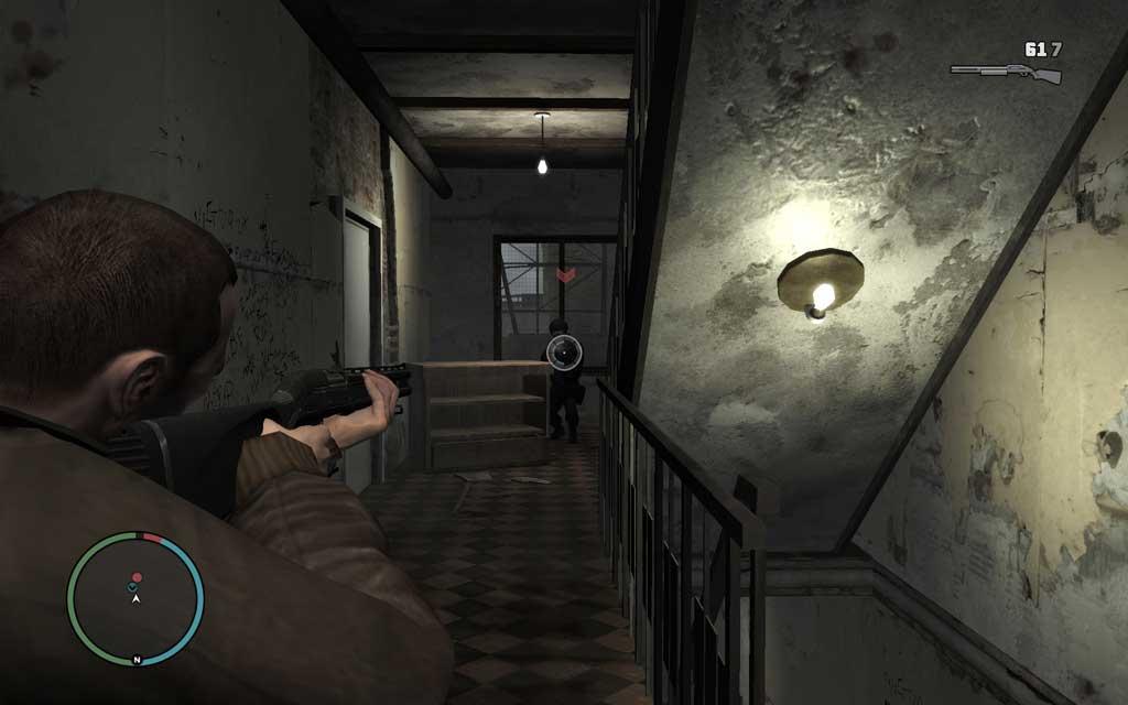 屋内の戦闘ではほとんど身を隠す場所はない。弾幕を張りながら前進あるのみだ。