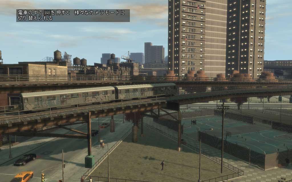電車からの風景は「V」ボタンで変更できる。いつも違う風景が楽しめるので、スキップせずに景色を楽しんでみよう。