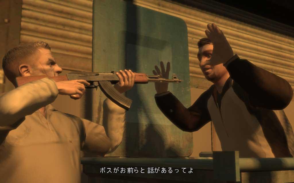 ファウスティンの部下が持っているのは旧ソ連の名銃AK-47。さすがロシアンマフィア、使う銃もソ連製だね〜。