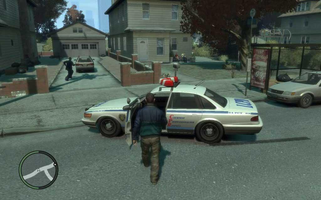 都合よく近隣で事件発生。かけつけた警官のパトカーは無防備にも開けっ放しなので、そのまま失敬しよう。