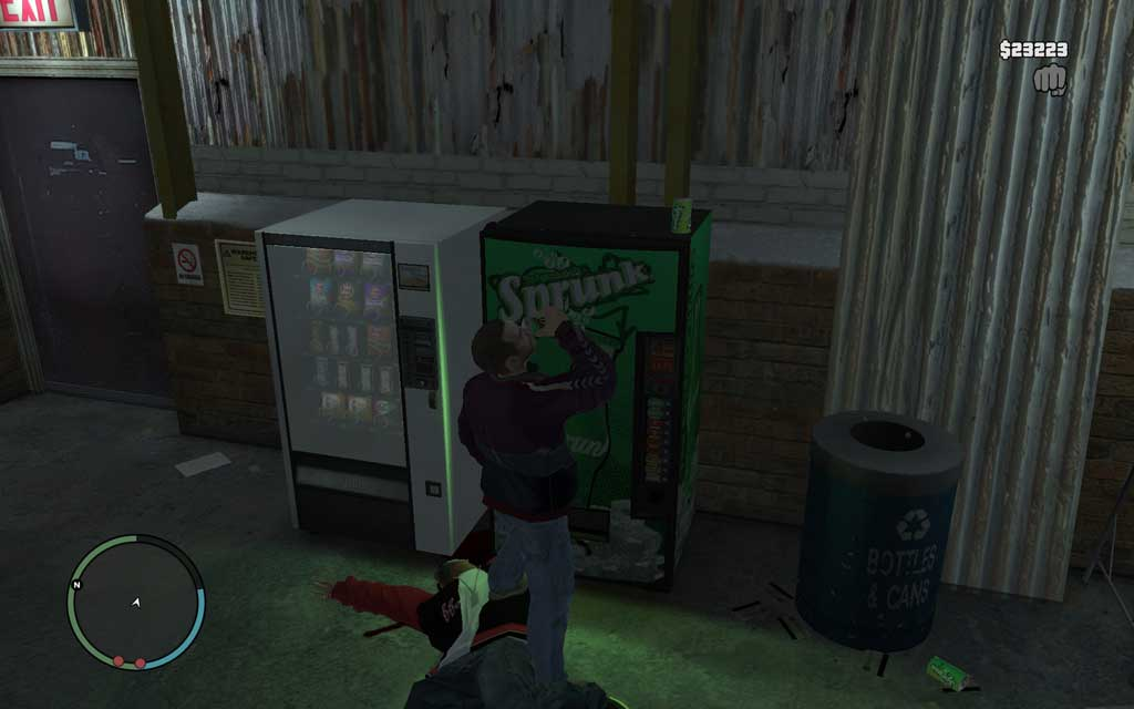 戦闘中に体力がヤバくなったら、建物内の自動販売機を使えば回復できる。ドンパチの最中にジュースを買う余裕があるかどうかは別だが。。。