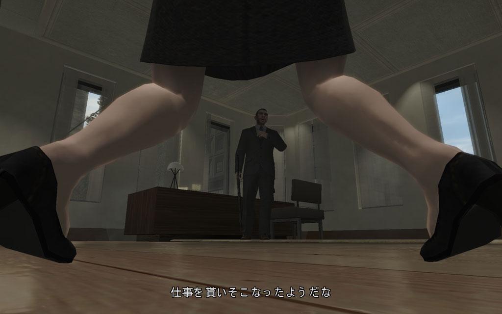 今にも失禁しそうなほどガクブルな受付嬢。この体勢で立っていられるのだから、ふくらはぎを相当鍛えているに違いない。