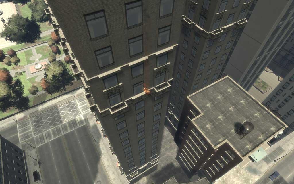 ターゲットの一人が炎上しながら、屋上から落下していく様子。燃やされた上に落とされるなんて、こんな最期はごめんだ。