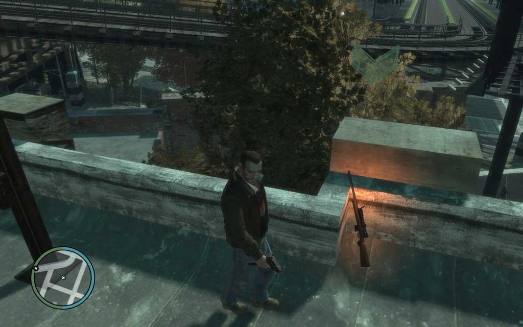 指定された建物の屋上に置かれているスナイパーライフルを取ろう。これ以降、武器屋にも同じ武器が並ぶ。