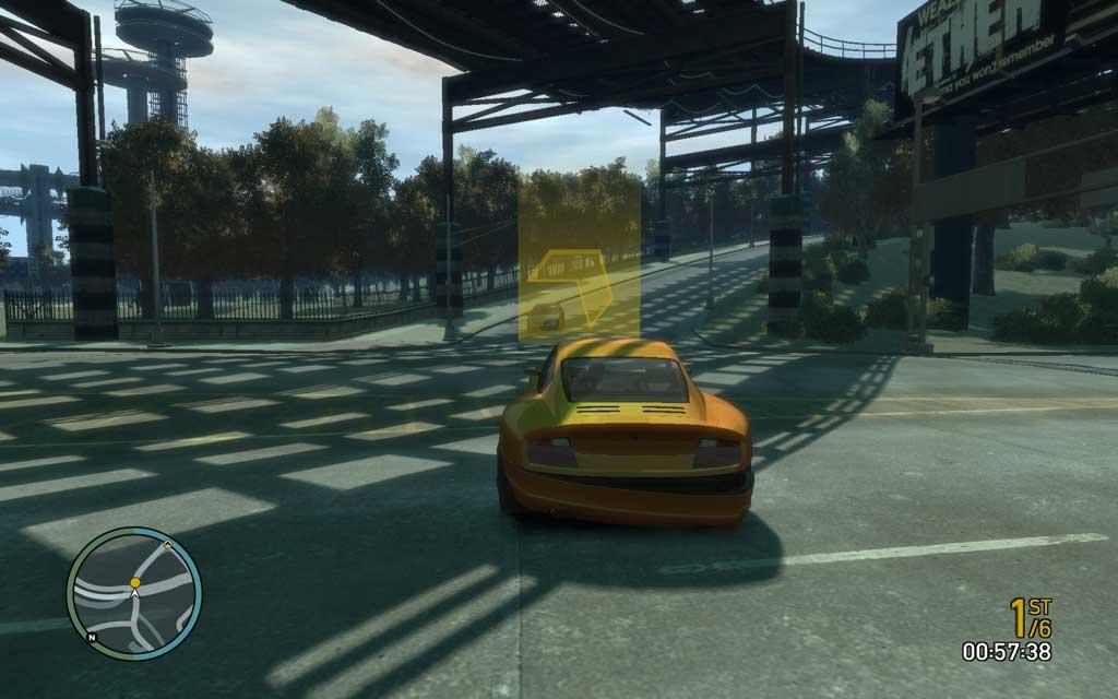 レースの時にだけ、公道上に大きな黄色いマーカーが表示される。これを目指してカッ飛ばそう。