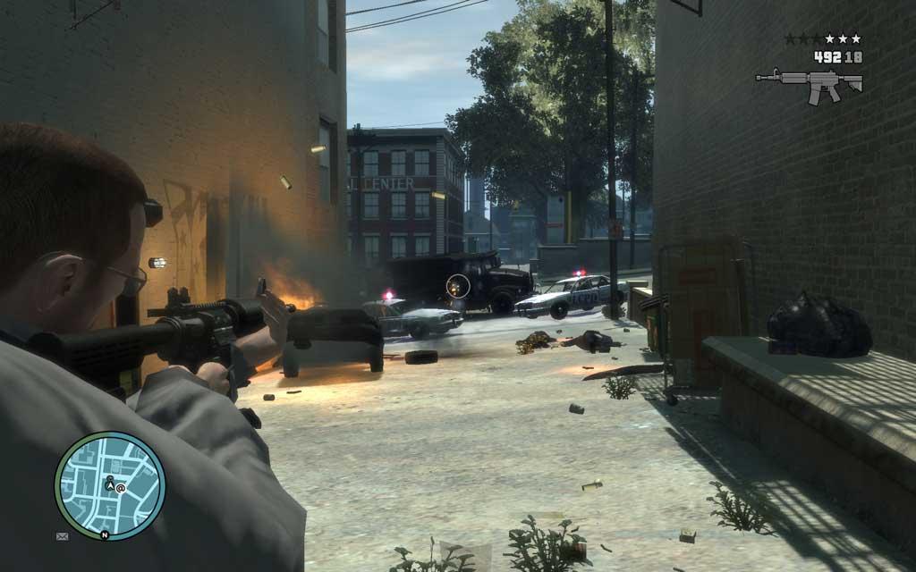 警官もかなり必死で追いすがる。RPGかグレネードを使って一気にかたをつけよう。