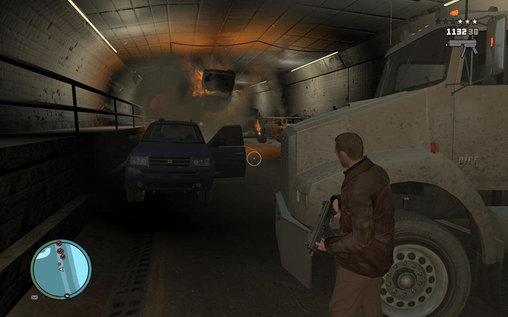 車をカバーポジションに使いながら、警官たちと戦おう。敵の数は多いが、被弾を抑えてone by oneで対処すれば難しくはないはず。