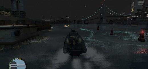 仕事も忘れて見入ってしまいそうなほど美しいリバティシティの夜景。水面に映るライトもキレイ。